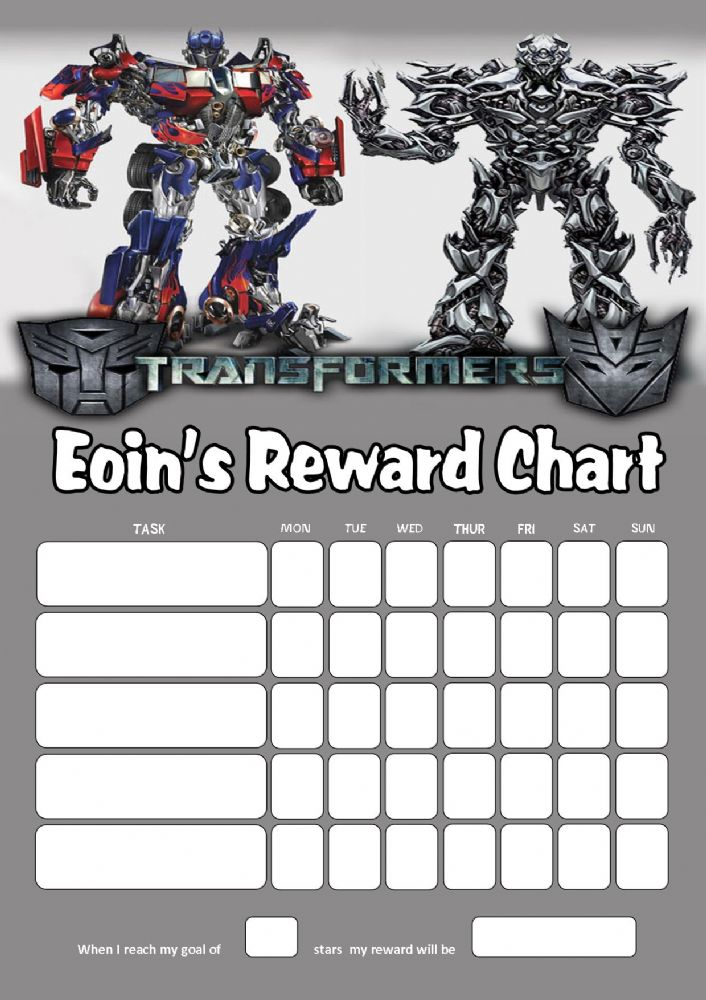 Personalised Transformers Reward Chart Adding Photo Option Available